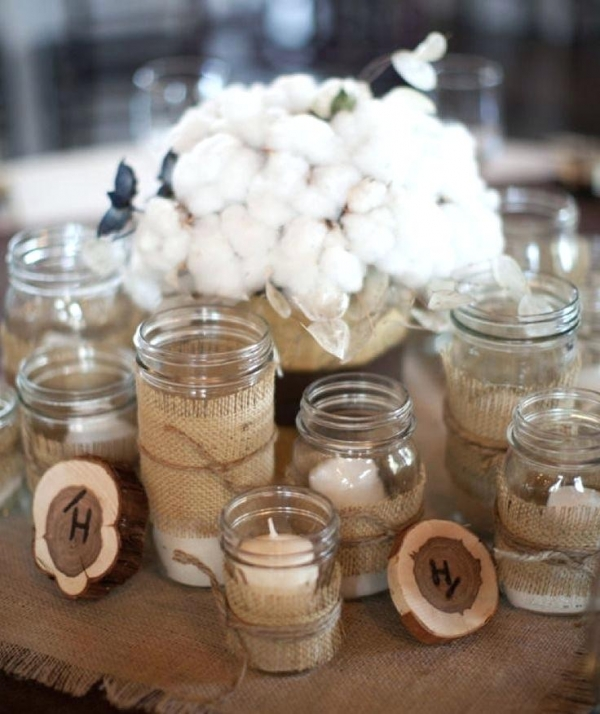 jam jars with hessian