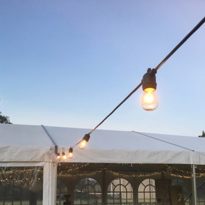 festoon lights and marquee