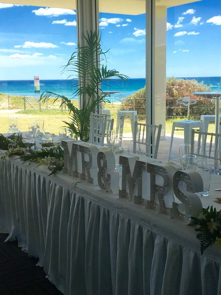 Mr and Mrs on wedding table