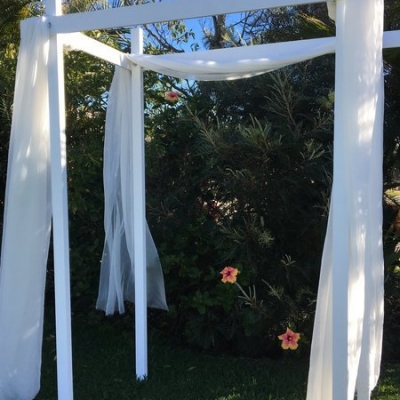 white wedding arbour